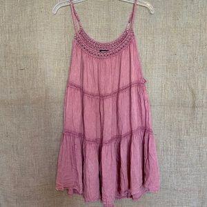 Raviya Pink Boho Cover up Dress Crochet Trim Large